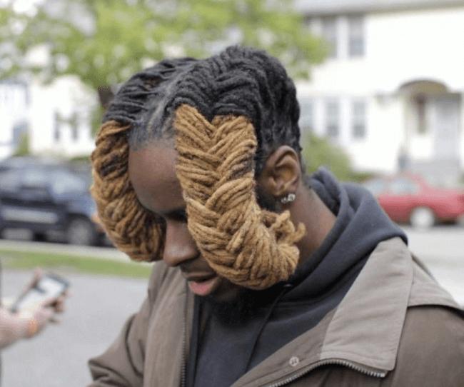 牛のツノの髪型