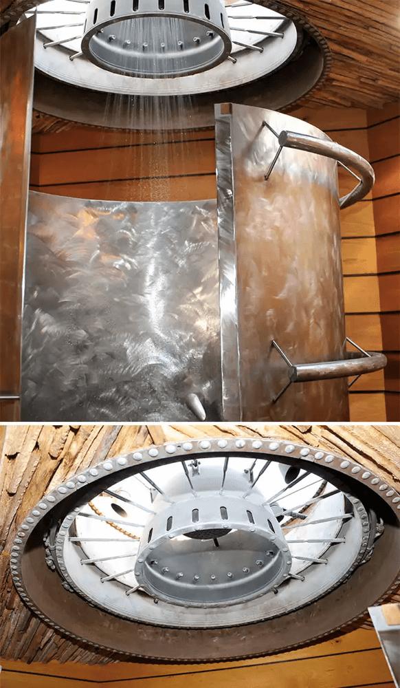 飛行機の部品で作れられたシャワー