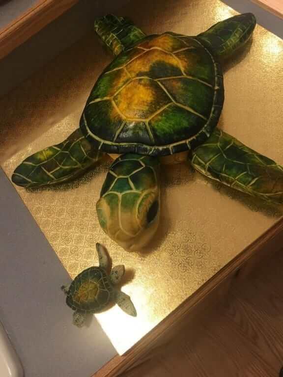 カメ型のケーキ