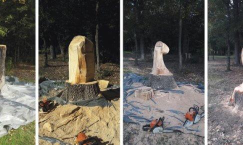 一本の木から造られたチェンソーアート