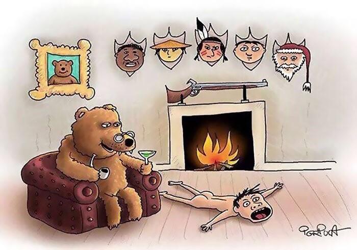 剥製として敷かれているクマと人間が逆に