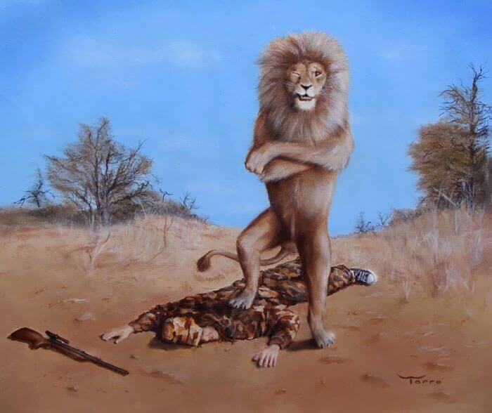 人間を踏むライオン
