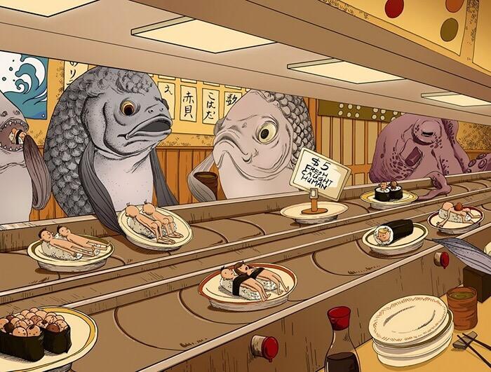 寿司屋で人を食らう魚達