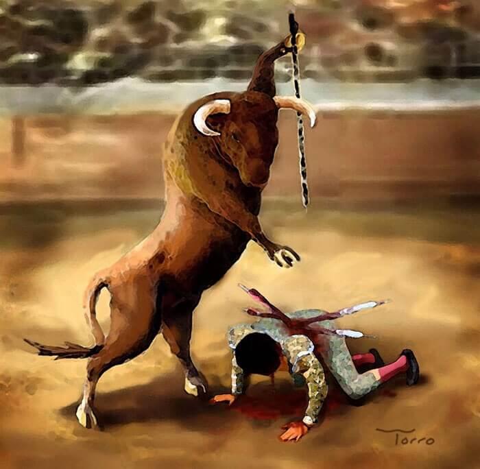 人間を襲う闘牛