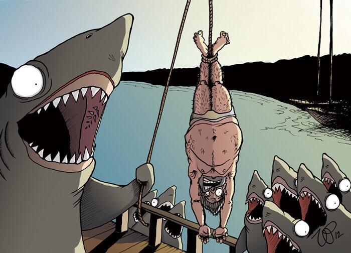 漁業ならぬ人業をするサメ達