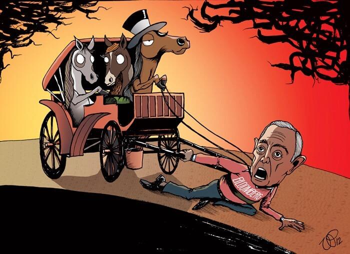 人間タクシーを使う馬