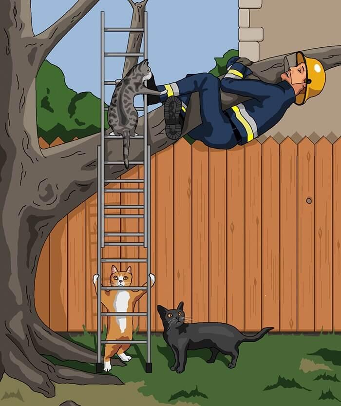 木の上で遊ぶ人間を無理やり下ろす猫