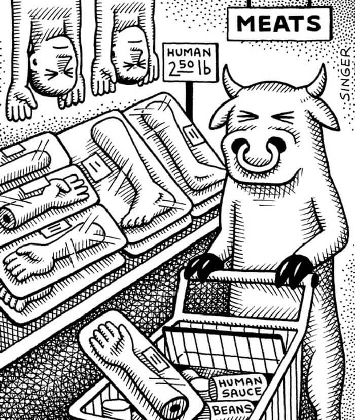 スーパーで人を買う豚