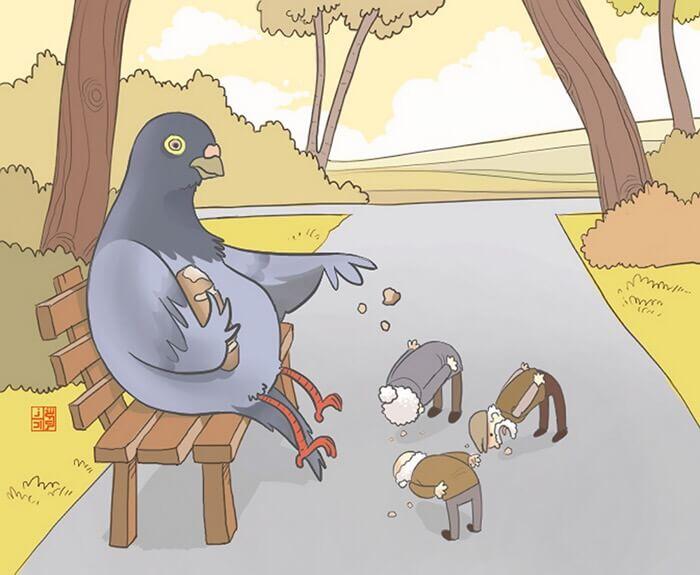 鳩にエサをもらう人間達