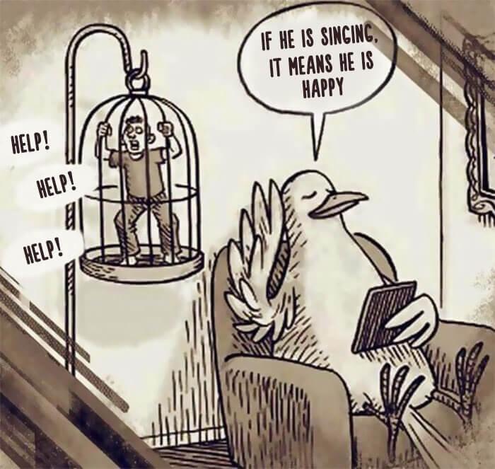 鳥かごで人間を飼育する鳥