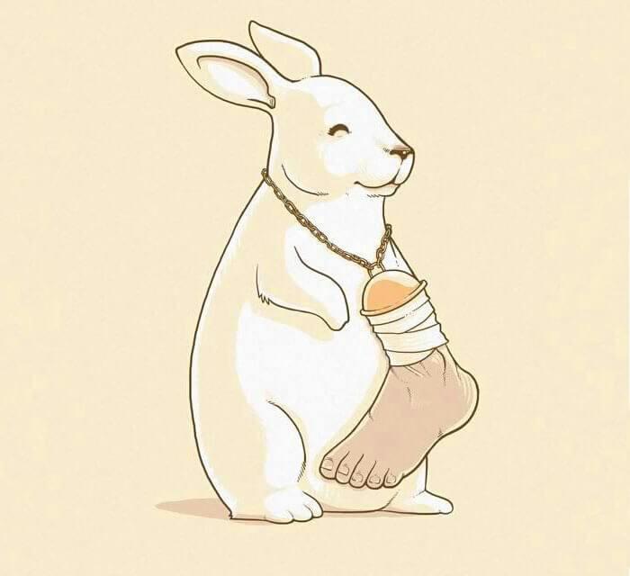 人間のアクセサリーをつけるウサギ