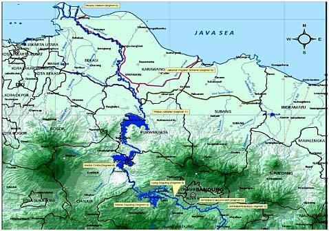 チタルム川がある場所の地図-インドネシア西ジャワ州