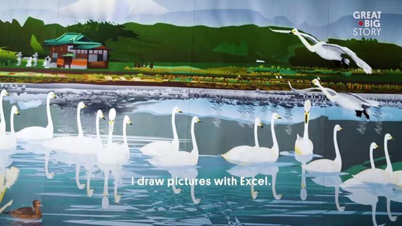 おじいちゃんがエクセルで描いた絵