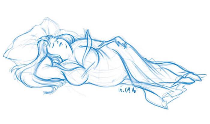 太った眠れる森の美女-イラスト