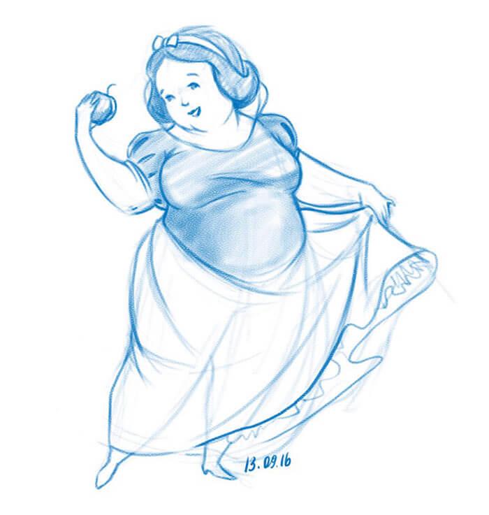 太った白雪姫-イラスト