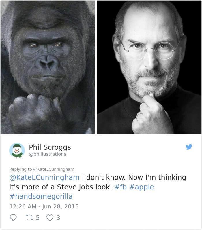 イケメンゴリラとスティーブ・ジョブスの比較写真