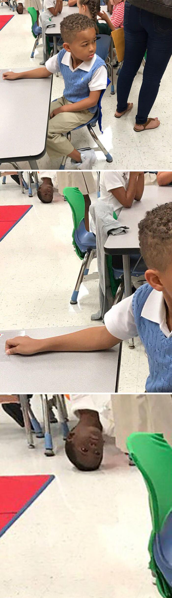 授業中の甥を撮ったんだけど。あの男の子は何やってたんだろ。