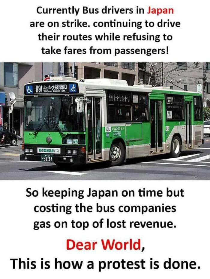 無料でバスに乗せるストライキが発生する