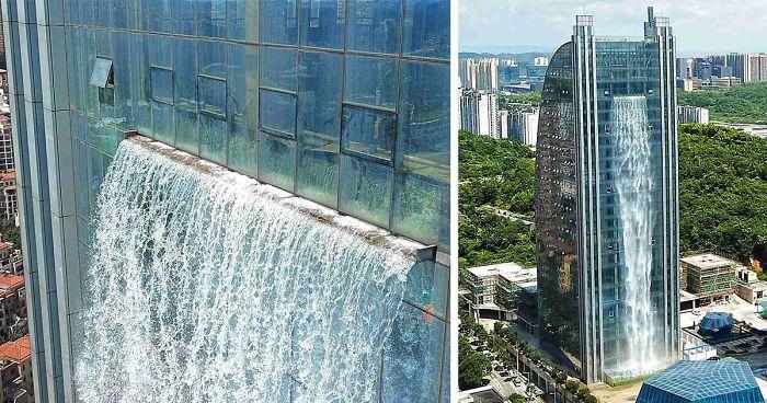 中国-ビルから流れる巨大な滝