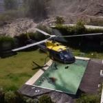 「え、プールあんじゃん…!か、借りるぞ!!」バンビバケットを装備して消化に向かうヘリコプターは、時として民家のプールを借りることがある。