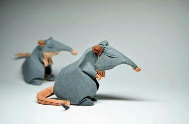 すごい折り紙アート-ネズミ