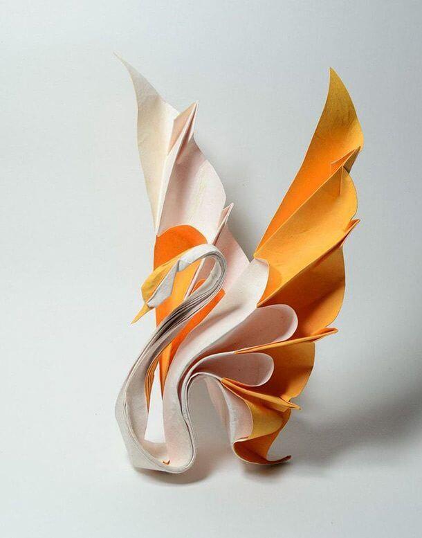 すごい折り紙アート-白鳥