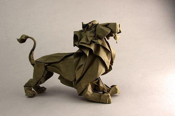すごい折り紙アート-ライオン