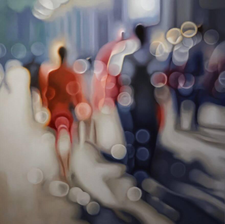 近眼の人の見え方-油絵