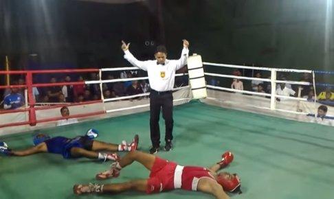 ボクシング-同時にダウン