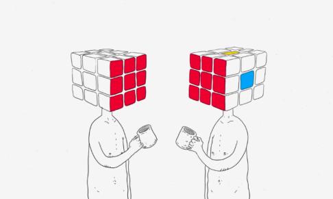 人間社会を表した人型のルービックキューブ